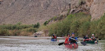 Clients on a canoe trip down the rio grande river