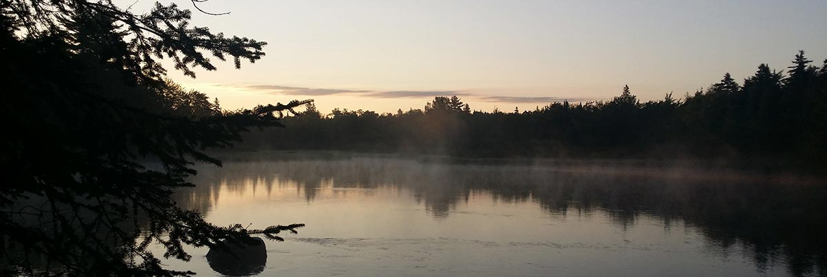 St. Croix river early in the morning with River Smoke rising